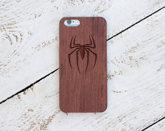 Spiderman, Wood Case, iPhone 8, iPhone X, 7, 7 Plus, 6s, 6 6 Plus, 5s, 5, SE, Samsung Galaxy S8, S7, S6, Cover, Engraved #4078