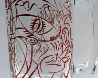 Etched Glass Beer Mug, Sandblasted Beer Mug,Picasso,Girl On a Pillow,Artist,Red,Gold,Girl,Whimsical