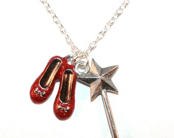 Wizard Of Oz, Red Glitter Enamel Ruby Slippers Necklace - Choose Length - Dorothy & Magic Wand, Glinda Good Witch, Kitsch Film/TV