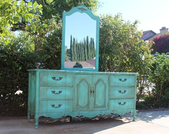 SOLD - Vintage French provincial dresser and mirror - turquoise / teal newly painted in shabby chic