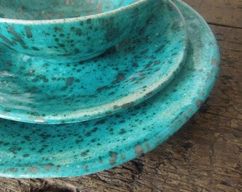 Handmade organic ceramic side plate speckled turquoise and sliver