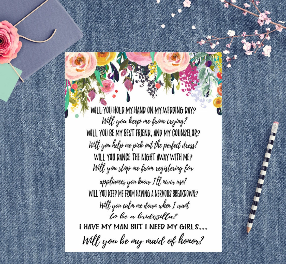Maid Of Honor Invitations Will You Be My Maid Of Honor Wedding