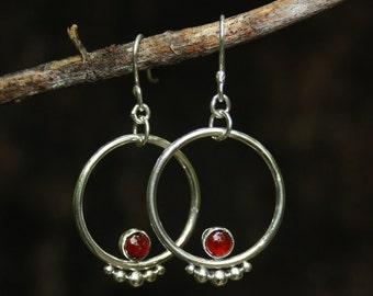 Handmade Sterling Silver and Garnet Hoop Earrings //Bohemian //Tribal //Gifts for Her