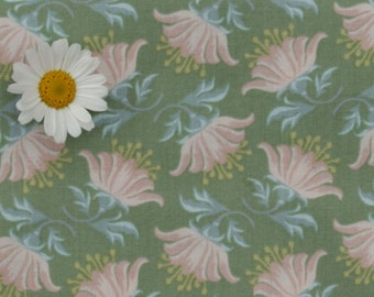 Tilda fabric FQ / Painting Flowers / Limited Edition / Painted Lily Green / Fat quarter