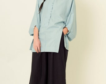 Paneled Blouse with Structured Balloon Sleeves in Light Blue