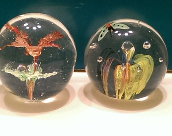 Pair of Glass Ball Paperweights Floral Lattice and Butterfly