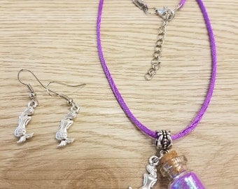 Mermaid Powder Set of Necklace and Earrings