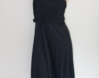 Navy 1970s PLEATED Accordion Dress
