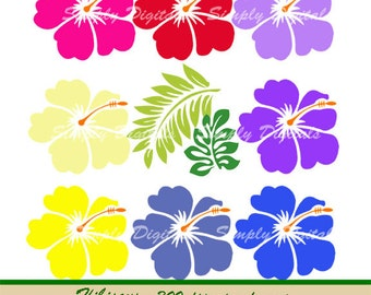 Hibiscus Flowers Clipart. Wedding Clipart. Scrapbooking. Invites. Greetings. SD