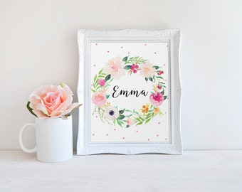 Floral Name Print, Emma Name, Baby Girl Name Print, Custom Name, Nursery Emma Decor, Kidds Room Decor, Baby Name Sign, Floral Custom