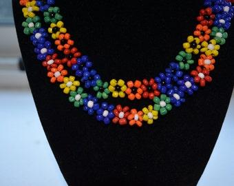 Rainbow Handmade Beaded Camp Necklace