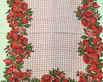 Vintage Tablecloth Pink Houndstooth  Check Red Flowers Fruits Rectangular Cotton Linen