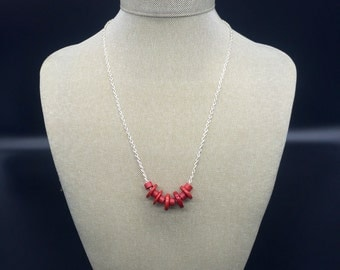 Silver necklace with red Mykonos ceramic beads