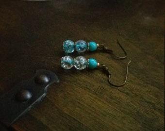 Dainty Blue bead Earrings