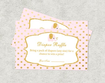Pink and Gold Diaper raffle, Girl Baby shower raffle, Pink Baby Shower, Diaper raffle ticket, Baby shower activities, EP-2
