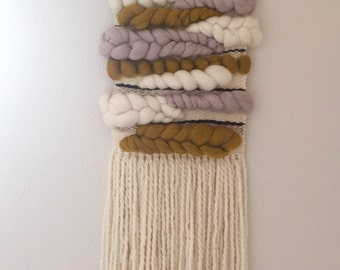 Chartreuse, Gray and Cream Handmade Woven Wall Hanging || Woven Tapestry