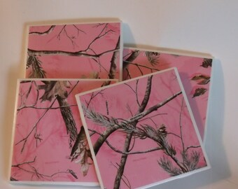 Pink Camo Coasters - Pink Country Coasters - Pink Wine Coasters