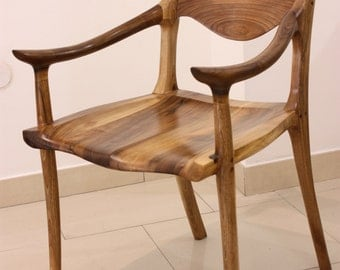 Low-back chair inspired by Sam Maloof