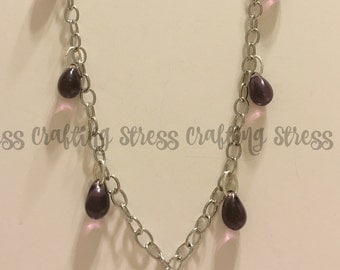 Purple Teardrop Glass Beaded Necklace