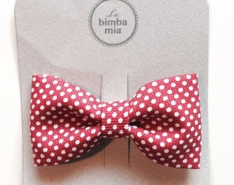 Red polka dot fabric bow hair clip, medium/red polka dot Fabric Hair Bow Clip, Medium