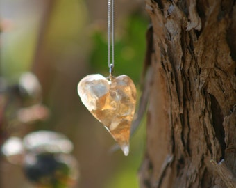 Heart Necklace - resin, Guardian Angel heart pendant, resin heart, handmade resin heart necklace, modern resin heart pendant, resin necklace