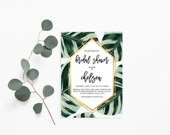 Printable Bridal Shower Invitation /  Shower Invite, Tropical, Wedding, Chelsea