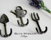 Cast Iron Garden Tool Hooks - Potting Shed Decor - Garden Decor - Garden Tool Decor - Farmhouse Decor - Cottage Garden Decor - Garden Hooks