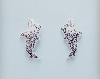 Whale earrings, Whale stud earrings, Summer earrings, Geo earrings, Monochrome earrings, Earrings