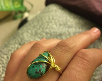 Gold Filled Turquoise Wire Wrapped Ring [SIZE 6]