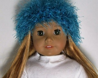 """18"""" Doll Clothes fit American Girl Crocheted Wild & Crazy Fun Fur Hat TURQUOISE BLUE"""