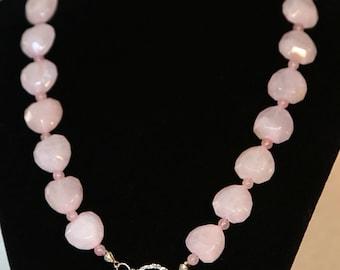 Rose Quartz and Swarovski Heart Necklace