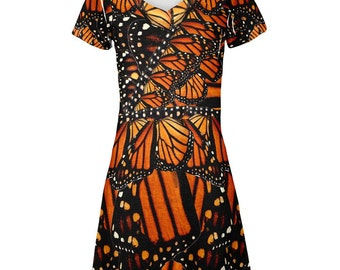 Monarch Butterfly Costume All Over Juniors Beach Cover Up Dress