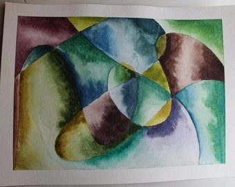 Abstract Original Watercolor Painting: Fresh Start