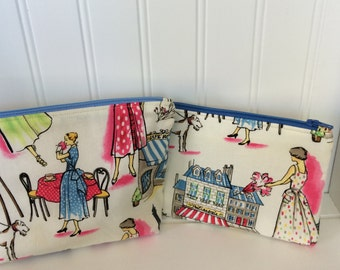 Two zippered pouches - Paris village scene