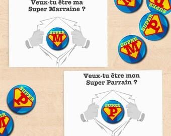 2 cards-pins gifts super sponsor Baptism - Collection Superman