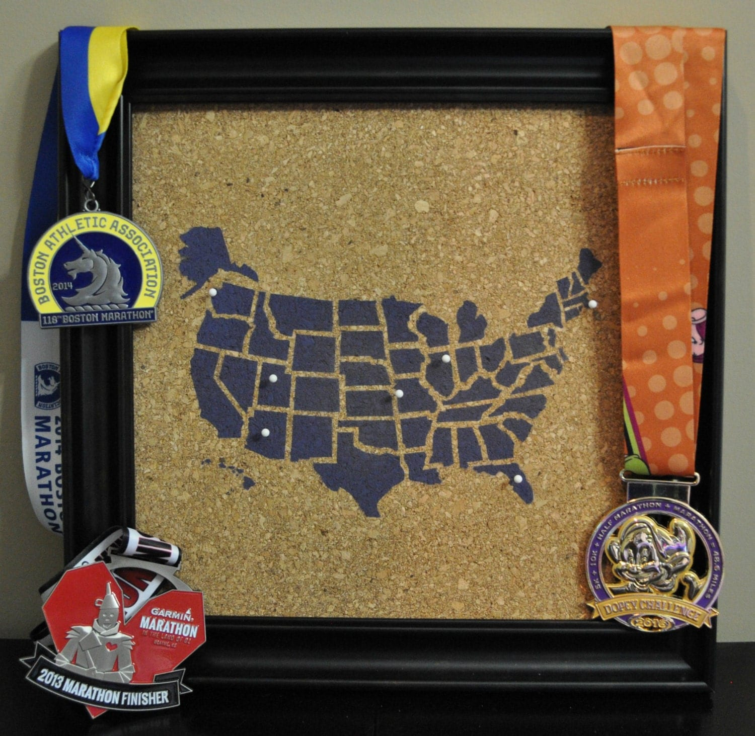 Corkboard Map Etsy - Map of the united states cork board