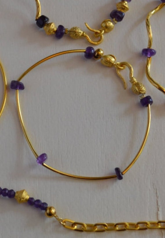 Bracelet with AmEthyst Beads and Gold Bars , Bold Bwan Blasp, 22k gold plated, 7.5 inches (18.5 cm)