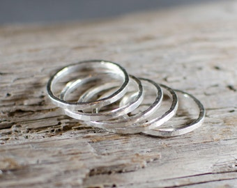 Stacked Fine Silver Rings - Set of 5