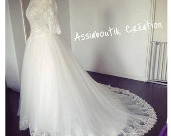 Long sleeves or 3/4 sleeves lace wedding dress handmade