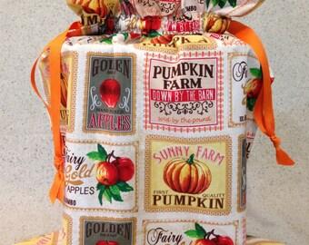 Fruit Label Fabric Gift Bag - Medium