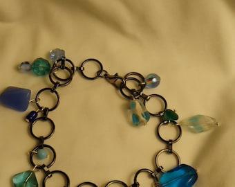Blue Beaded Anklet  #37