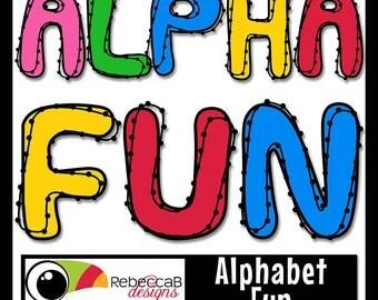 Alphabet Clip Art , Alphabet Letters Clipart, Digital Clip Art, Abstract Letters, Printable