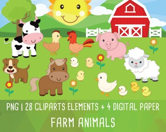 Farm animal clipart, Animal Friends clipart, cute animal, Instant Download PNG 300 dpi