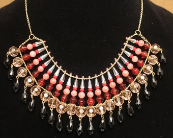 20% OFF! Red, Pink & Gold Beaded Bib Statement Necklace