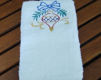Gold Christmas Ornament Hand Towel