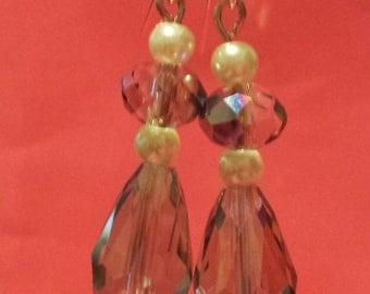 Pearls and Crystal Teardrop Earrings