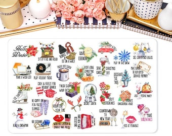 Winter Bucket List Planner Sticker, To do Stickers, Winter Stickers, Holiday Stickers for Erin Condren, Happy Planner and Many more
