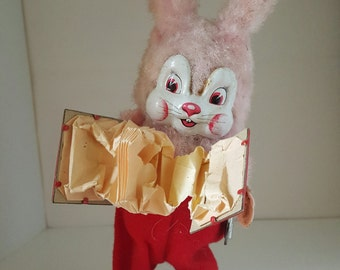 Vintage working windup accordion bunny