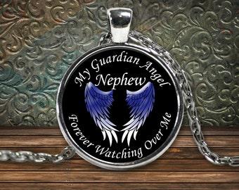 Guardian Angel Necklace - Nephew - My Nephew is my Guardian Angel Pendant - Angel Necklace - Memorial Jewelry Necklace for Nephew