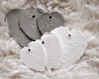 Lovely lace heart shaped gift tags, set of three, in three sizes, lace pattern, clay gift tags, white clay tags, gray clay tags, heartshaped